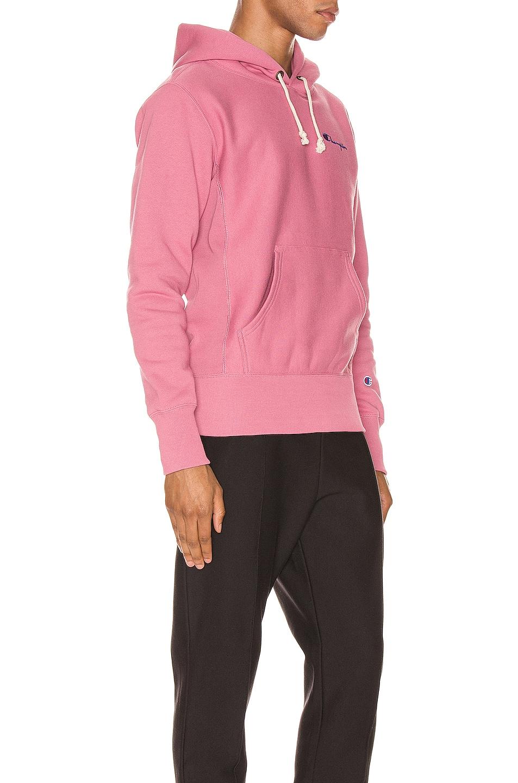 Image 2 of Champion Reverse Weave Small Script Hooded Sweatshirt in Heather Rose