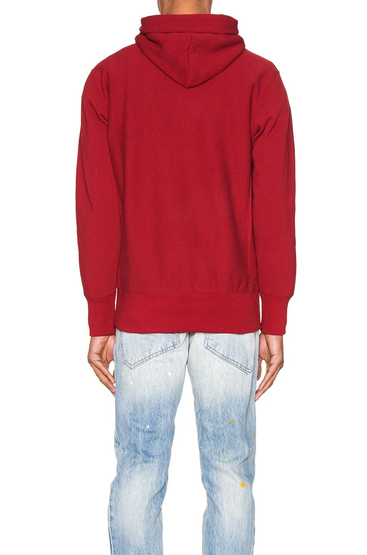 Image 3 of Champion Reverse Weave Small Script Hooded Sweatshirt in Scarlet