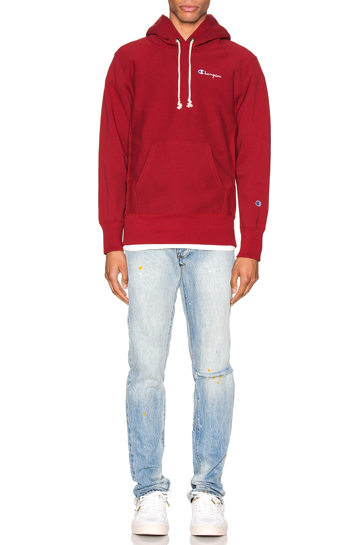 Image 4 of Champion Reverse Weave Small Script Hooded Sweatshirt in Scarlet