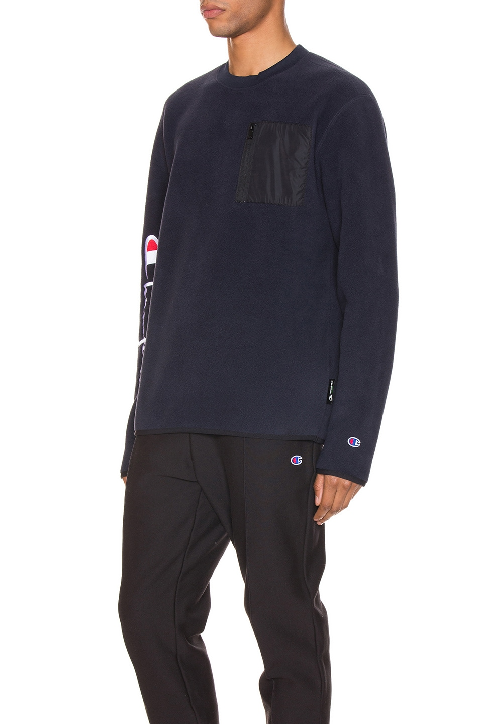 Image 3 of Champion Reverse Weave Sleeve Script Sweatshirt in Navy