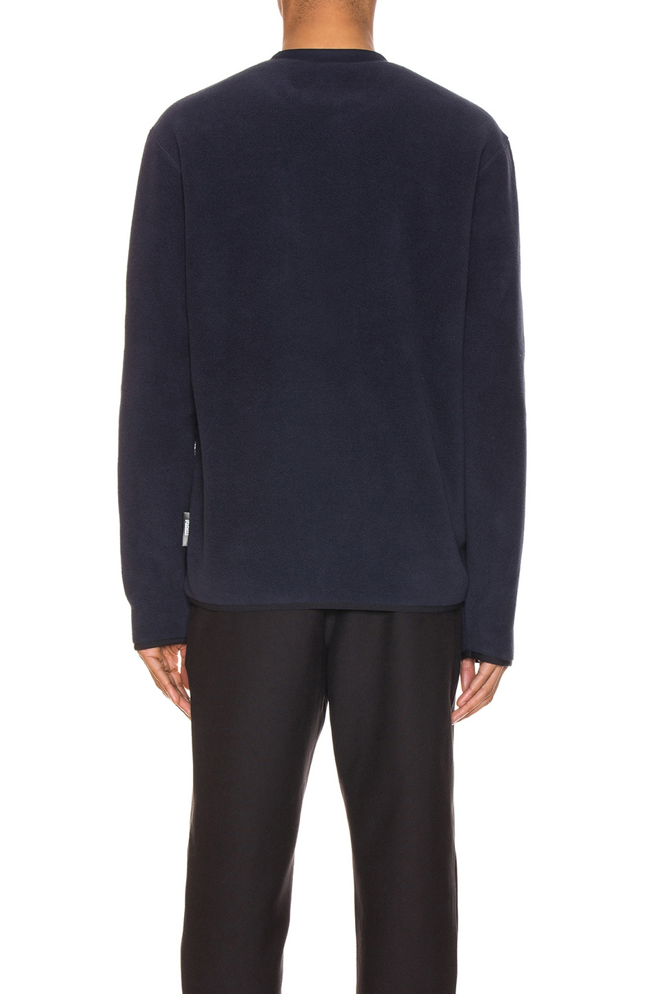 Image 4 of Champion Reverse Weave Sleeve Script Sweatshirt in Navy