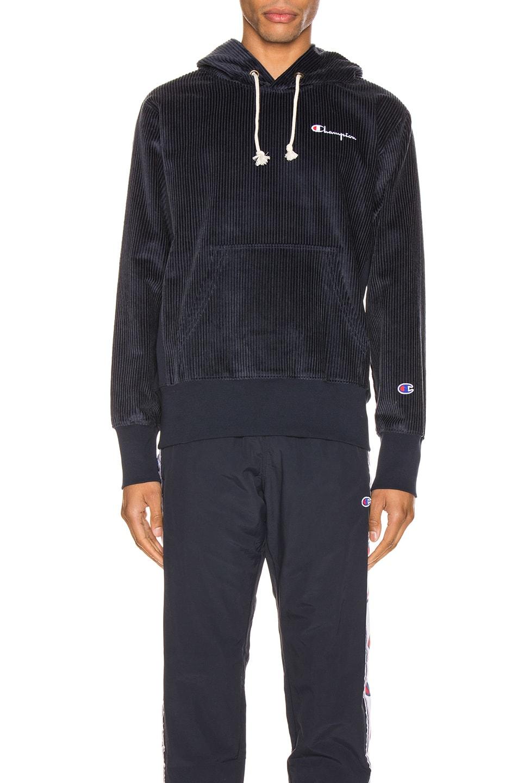 Image 1 of Champion Reverse Weave Corduroy Hooded Sweatshirt in Navy