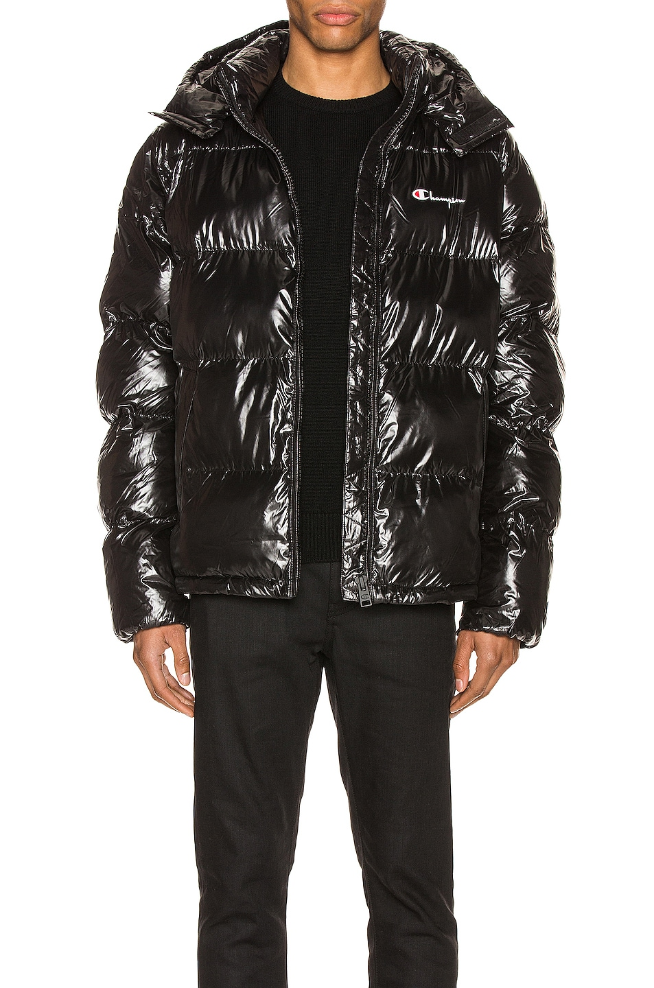 Image 1 of Champion Reverse Weave Hooded Puff Jacket in Black