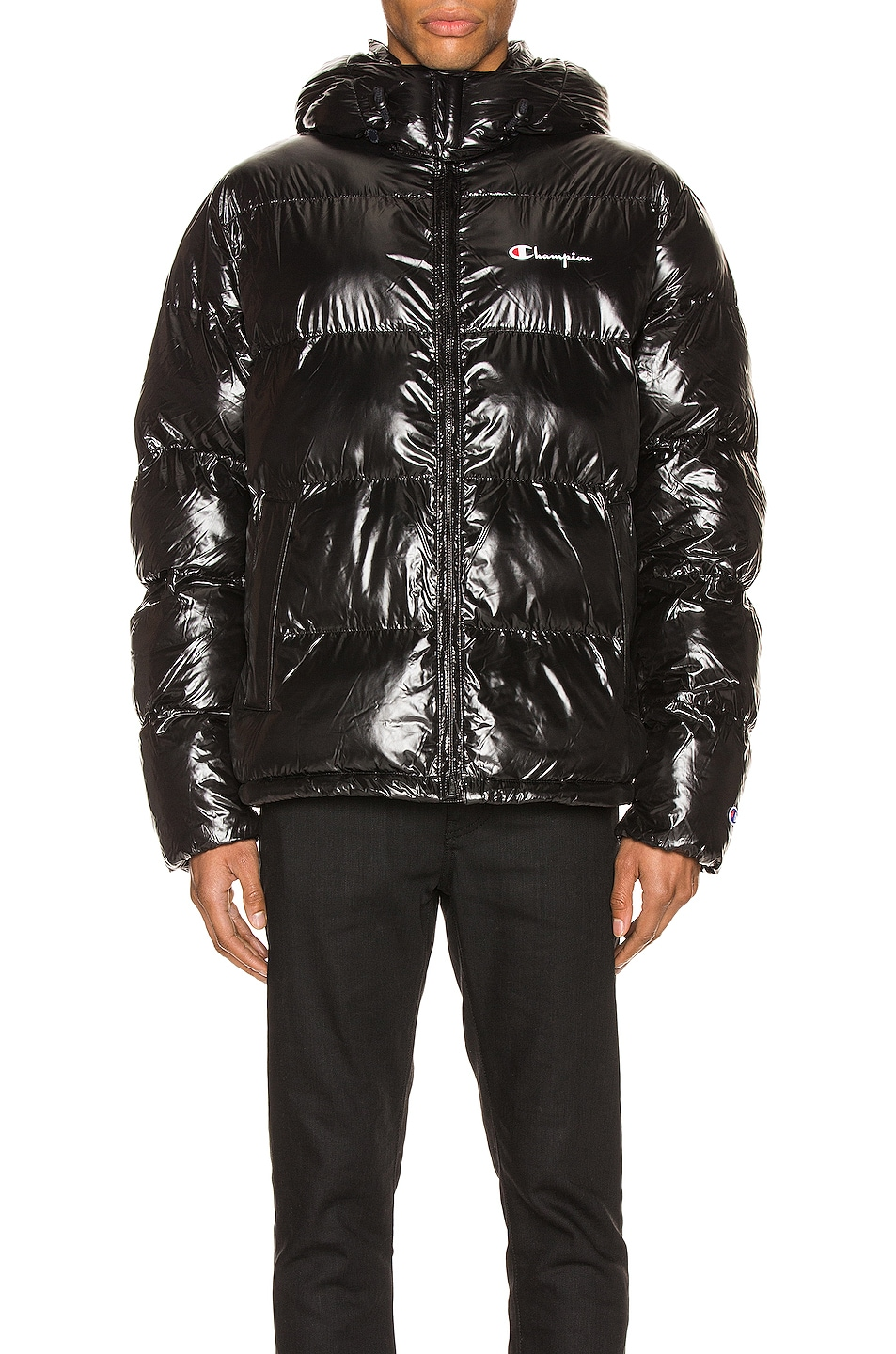 Image 2 of Champion Reverse Weave Hooded Puff Jacket in Black