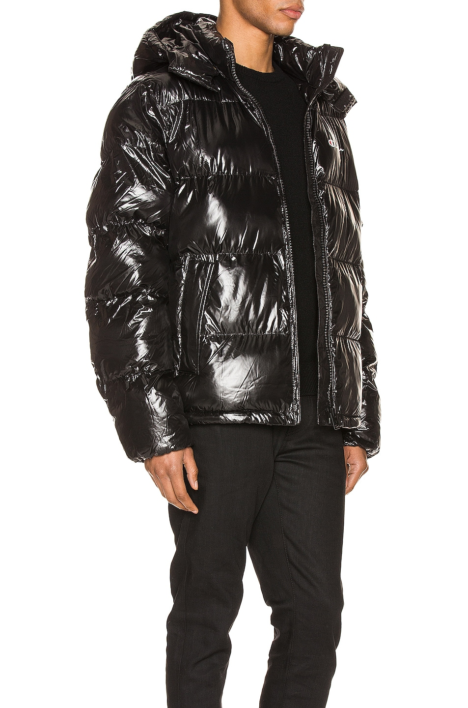 Image 3 of Champion Reverse Weave Hooded Puff Jacket in Black
