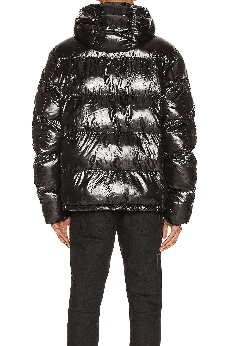 Image 4 of Champion Reverse Weave Hooded Puff Jacket in Black