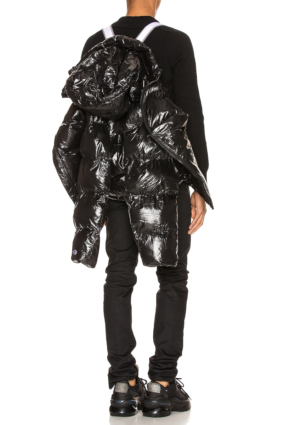 Image 5 of Champion Reverse Weave Hooded Puff Jacket in Black