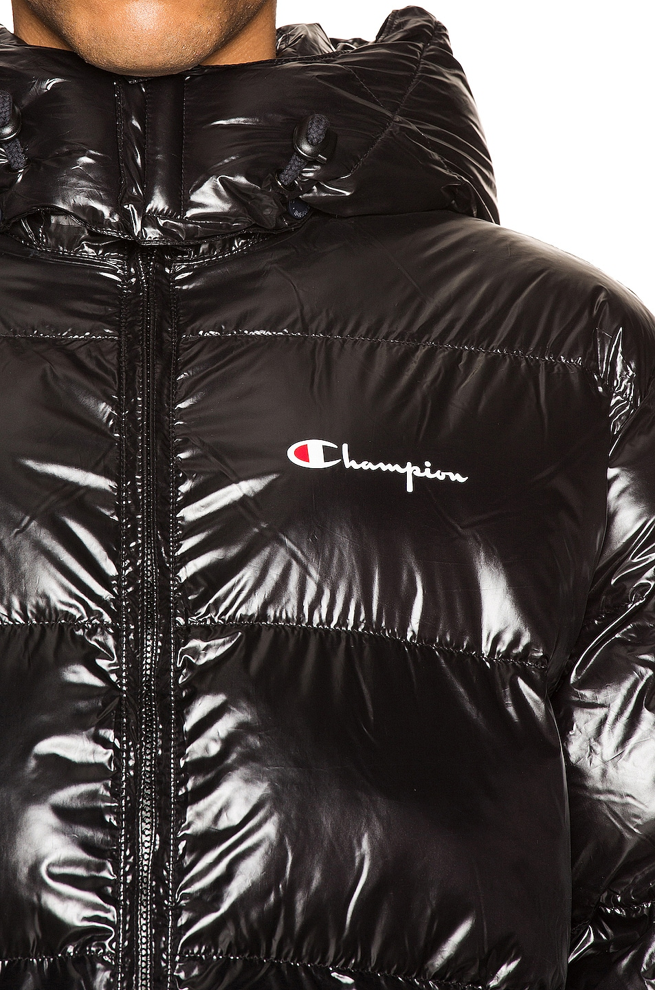 Image 6 of Champion Reverse Weave Hooded Puff Jacket in Black