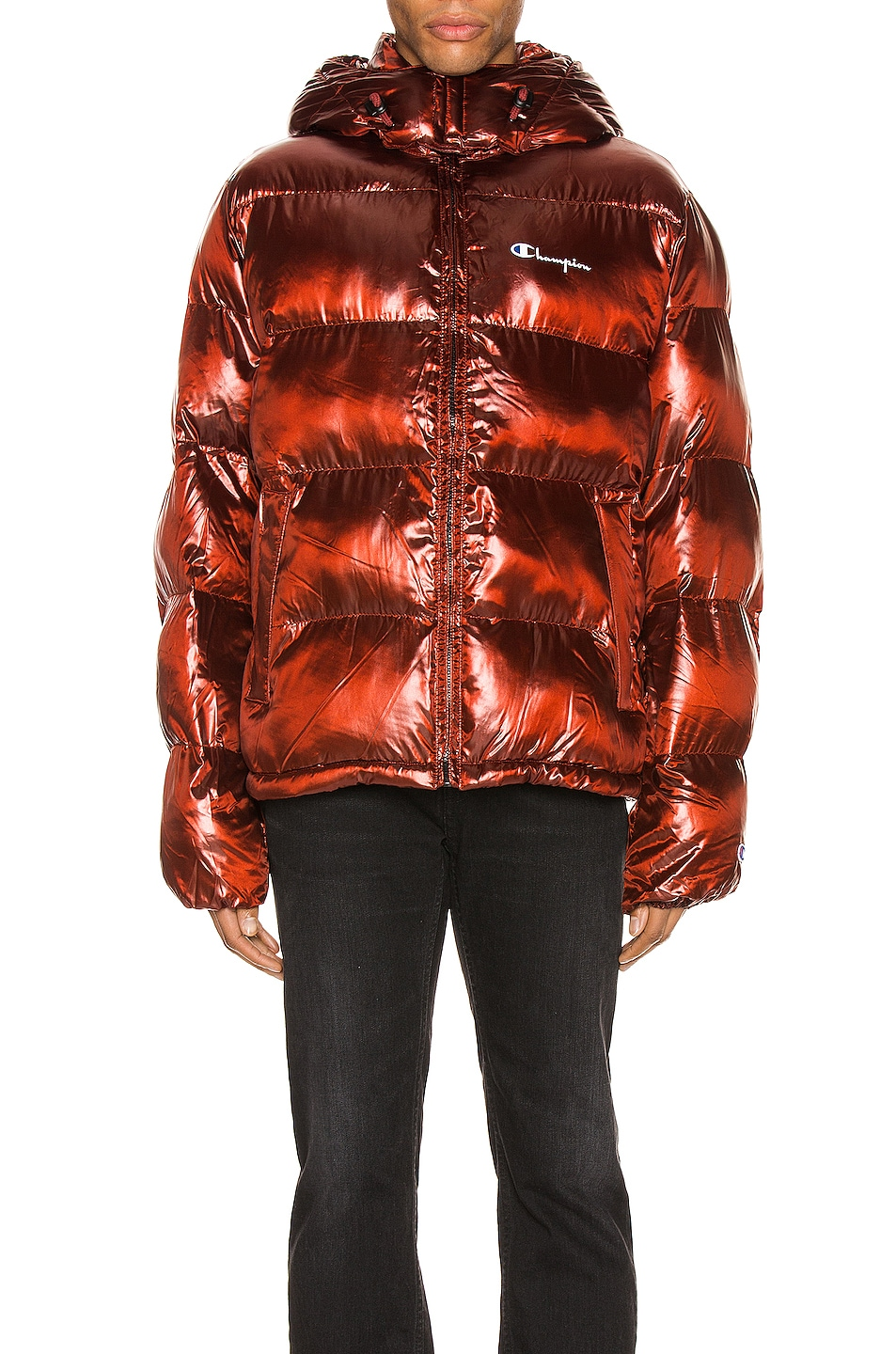 Image 2 of Champion Reverse Weave Melange Hooded Puff Jacket in Red Spark