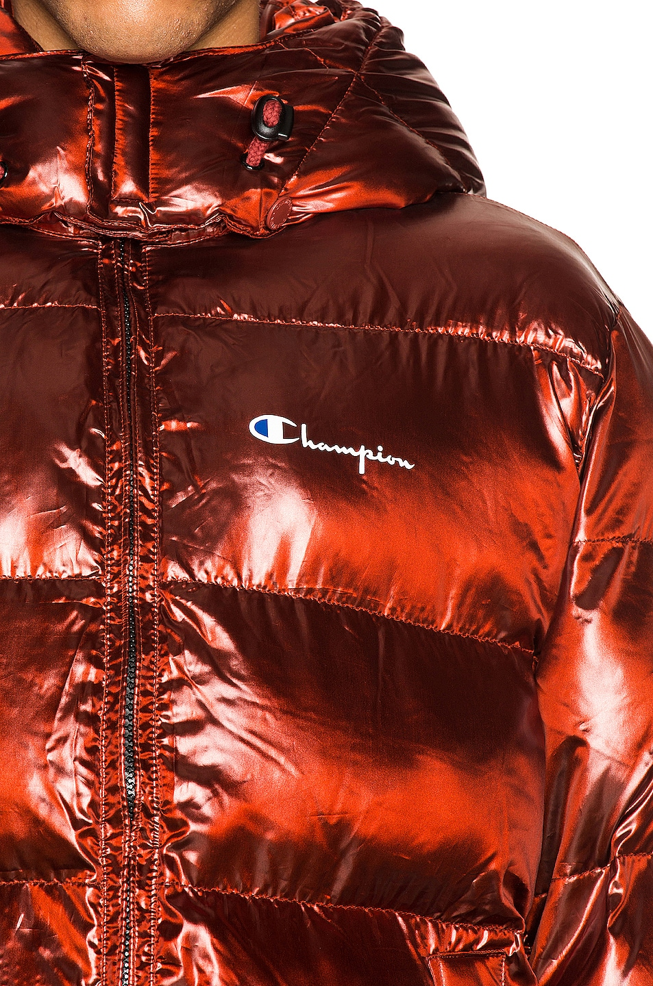Image 6 of Champion Reverse Weave Melange Hooded Puff Jacket in Red Spark