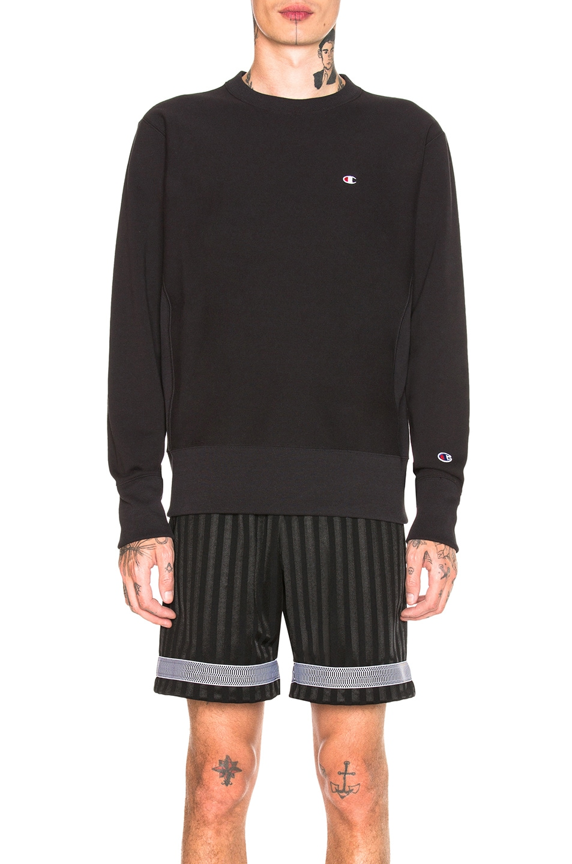 Image 1 of Champion Reverse Weave Crewneck Sweatshirt in Black