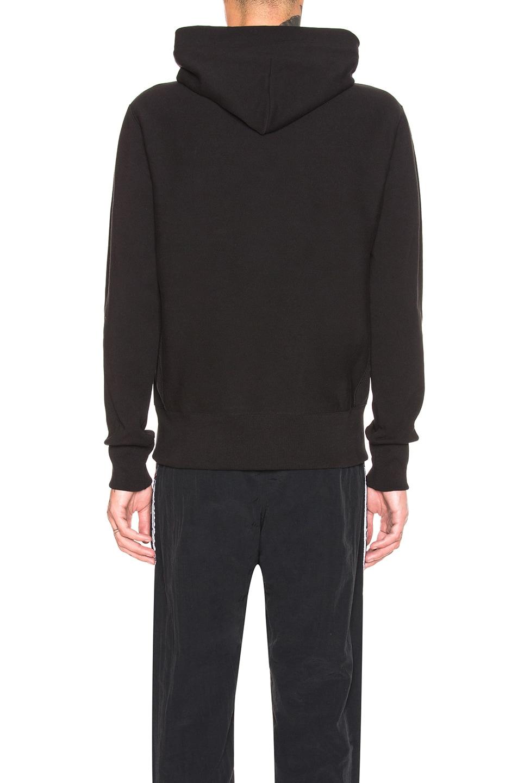Image 3 of Champion Reverse Weave Hooded Sweatshirt in Black