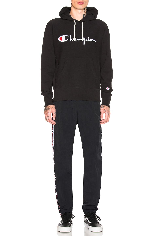 Image 4 of Champion Reverse Weave Hooded Sweatshirt in Black