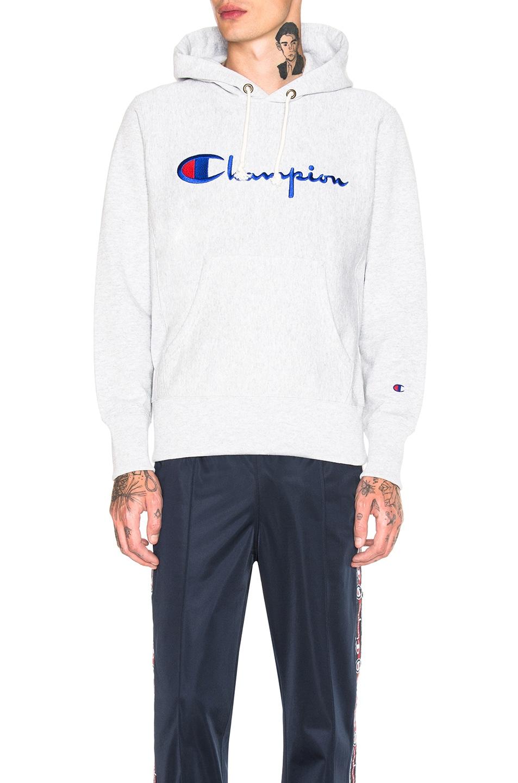 Image 1 of Champion Reverse Weave Hooded Sweatshirt in Grey