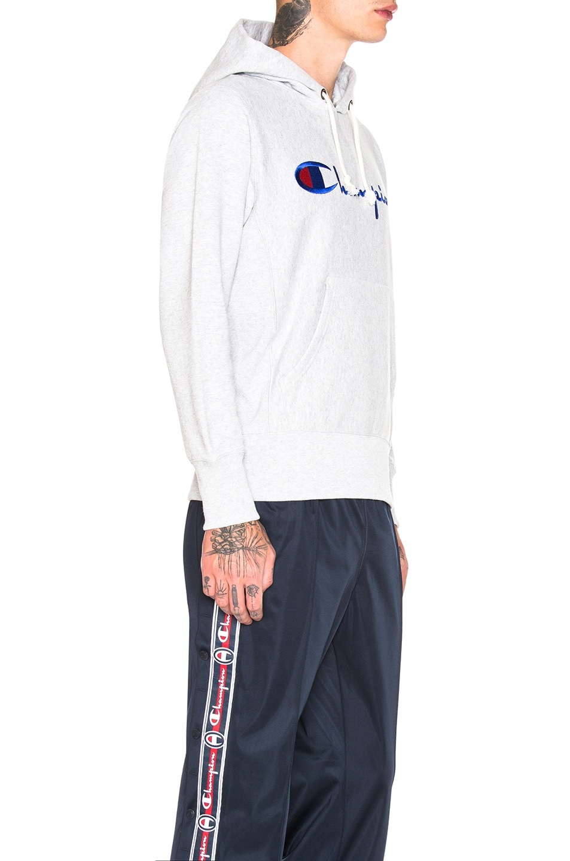 Image 2 of Champion Reverse Weave Hooded Sweatshirt in Grey