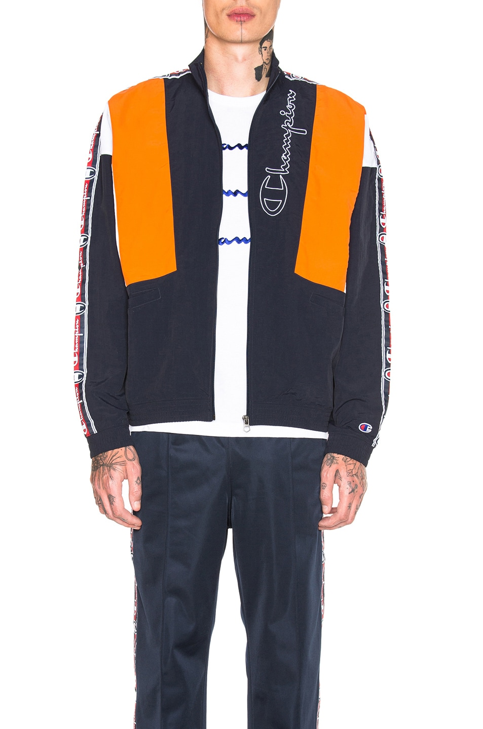 Image 2 of Champion Reverse Weave Track Top in Navy