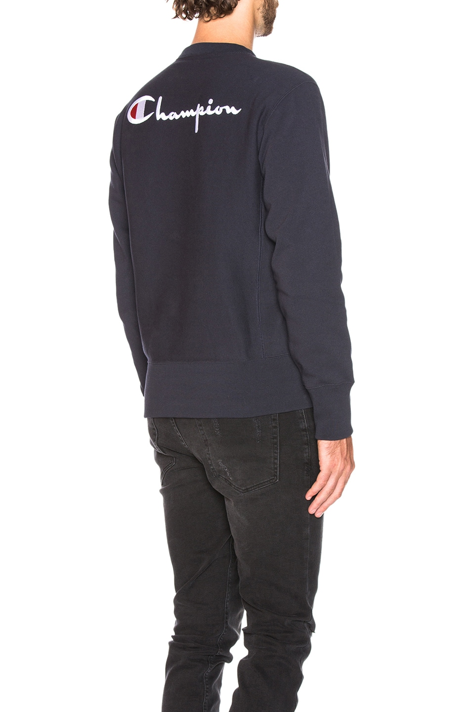 Image 1 of Champion Reverse Weave Crewneck Sweatshirt in Navy