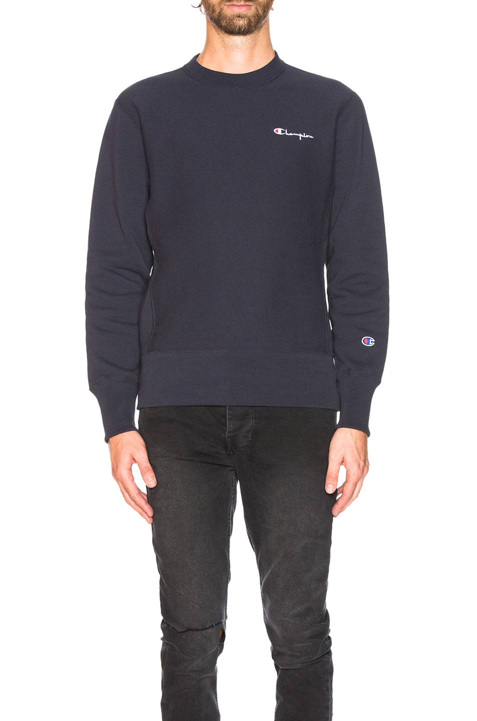 Image 2 of Champion Reverse Weave Crewneck Sweatshirt in Navy