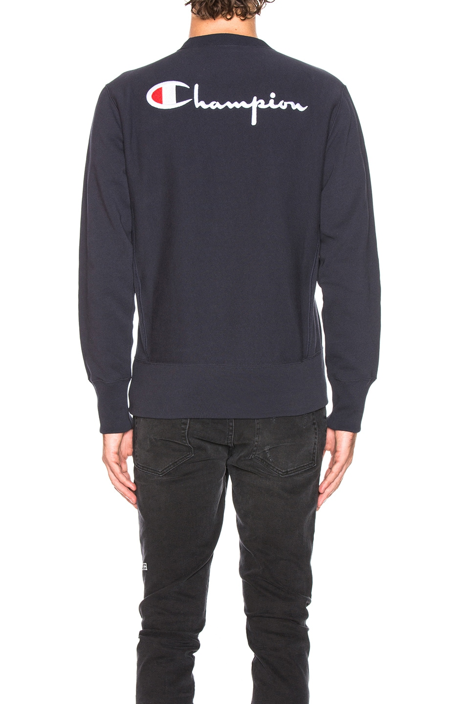 Image 4 of Champion Reverse Weave Crewneck Sweatshirt in Navy