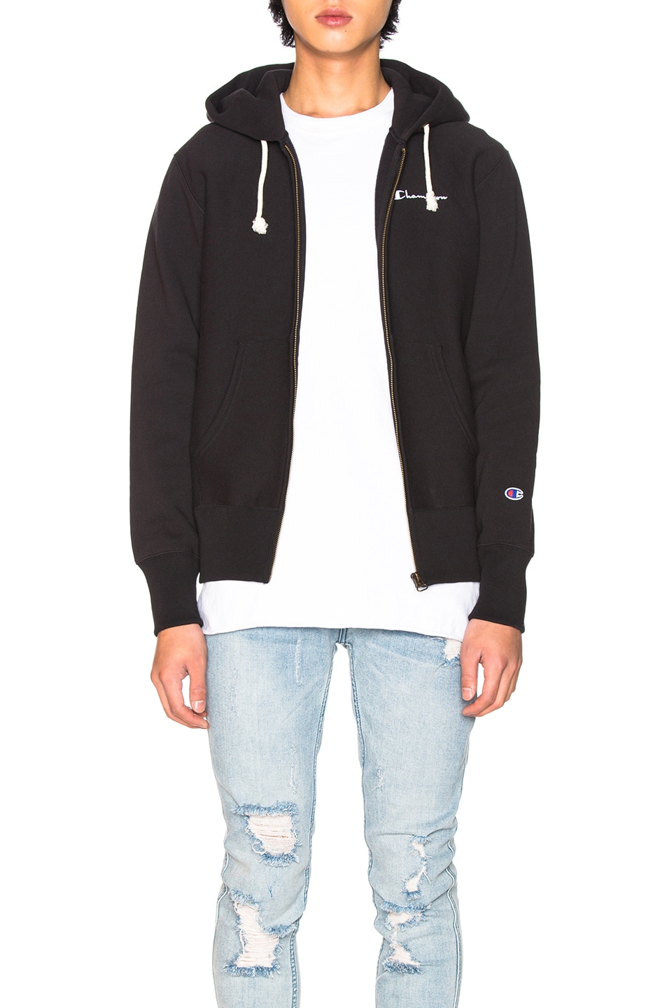Image 1 of Champion Reverse Weave Hooded Sweatshirt in Black