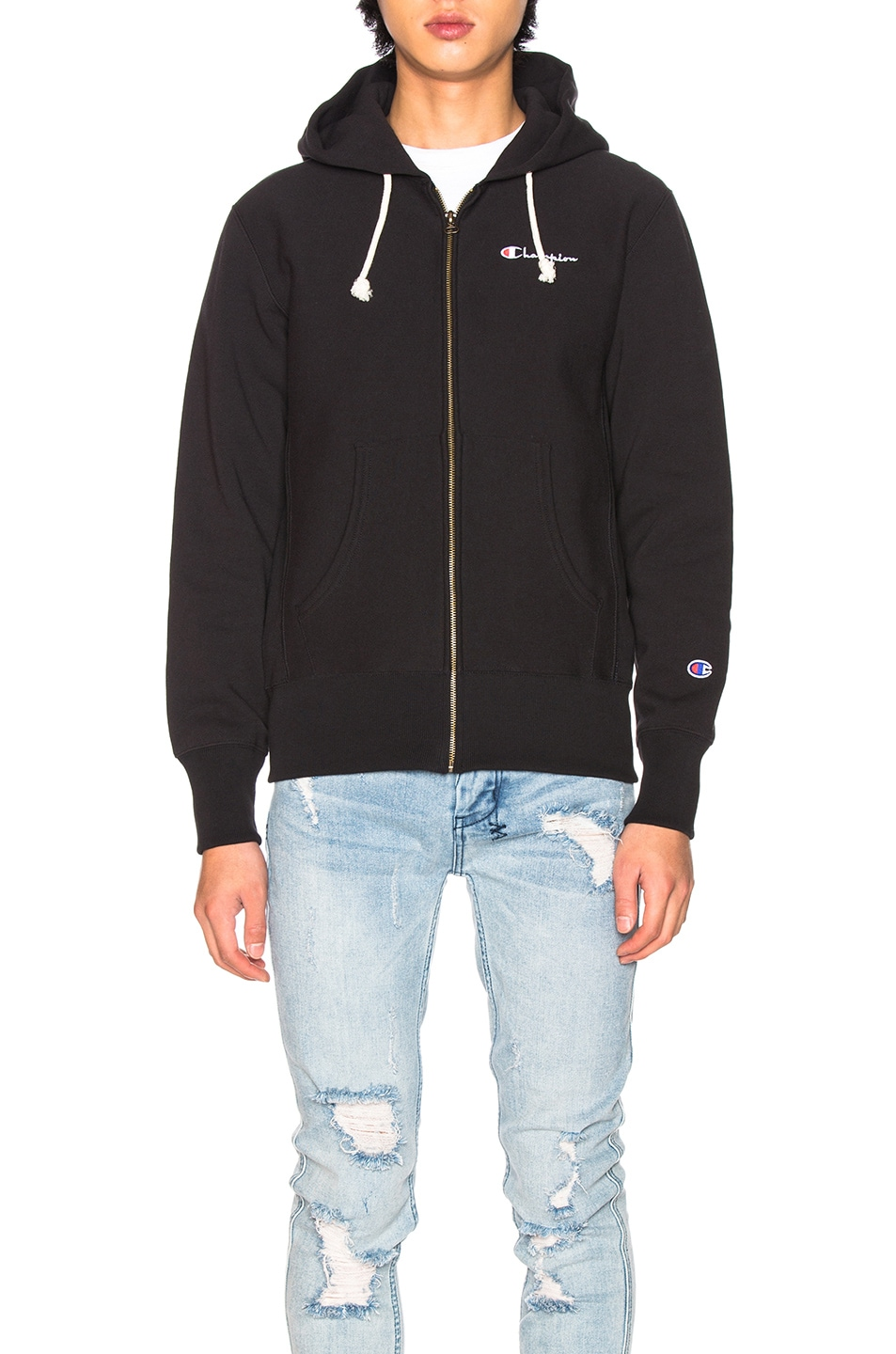Image 2 of Champion Reverse Weave Hooded Sweatshirt in Black