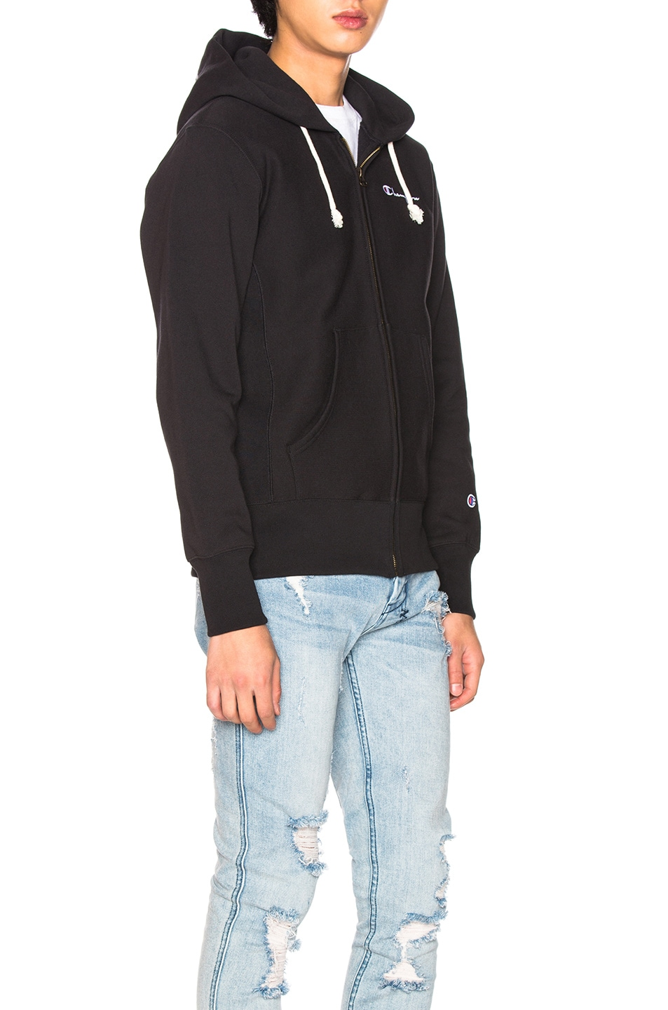 Image 3 of Champion Reverse Weave Hooded Sweatshirt in Black