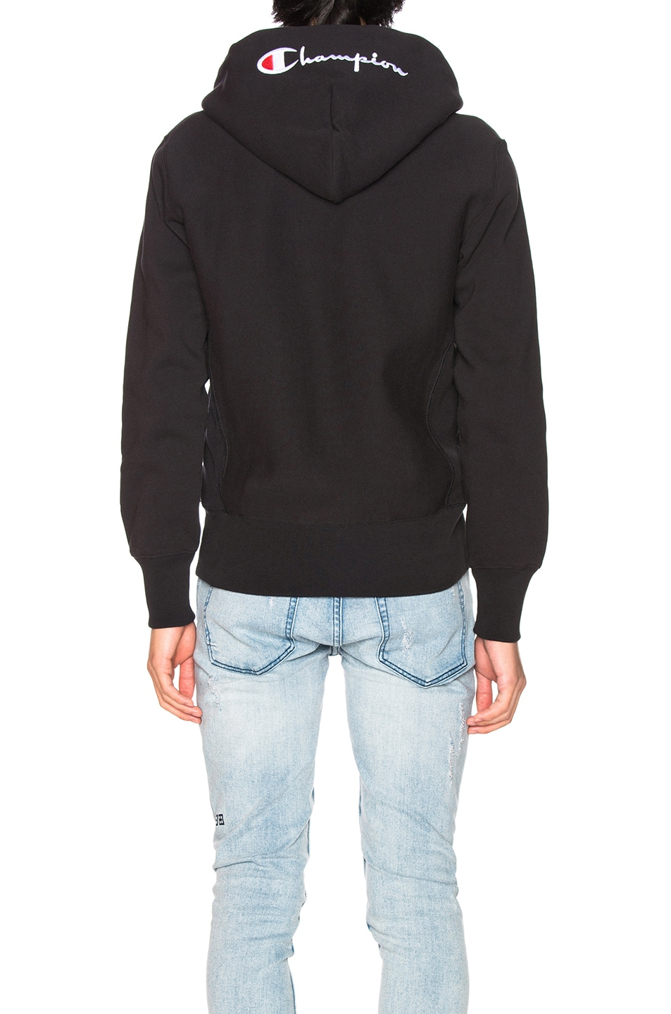 Image 4 of Champion Reverse Weave Hooded Sweatshirt in Black