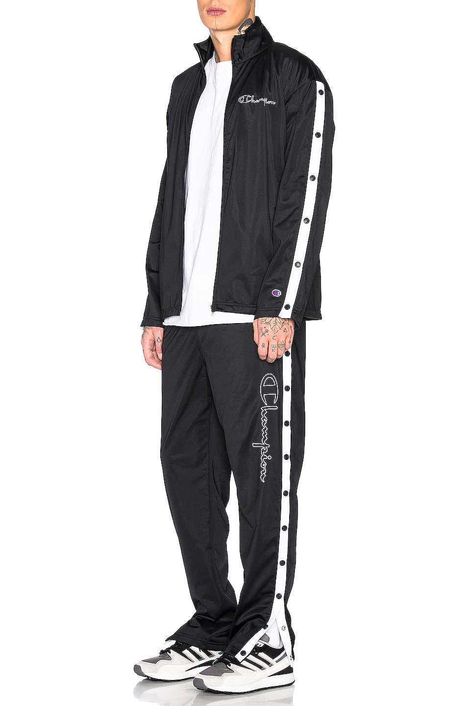 Image 5 of Champion Reverse Weave Champion Pants in Black & White