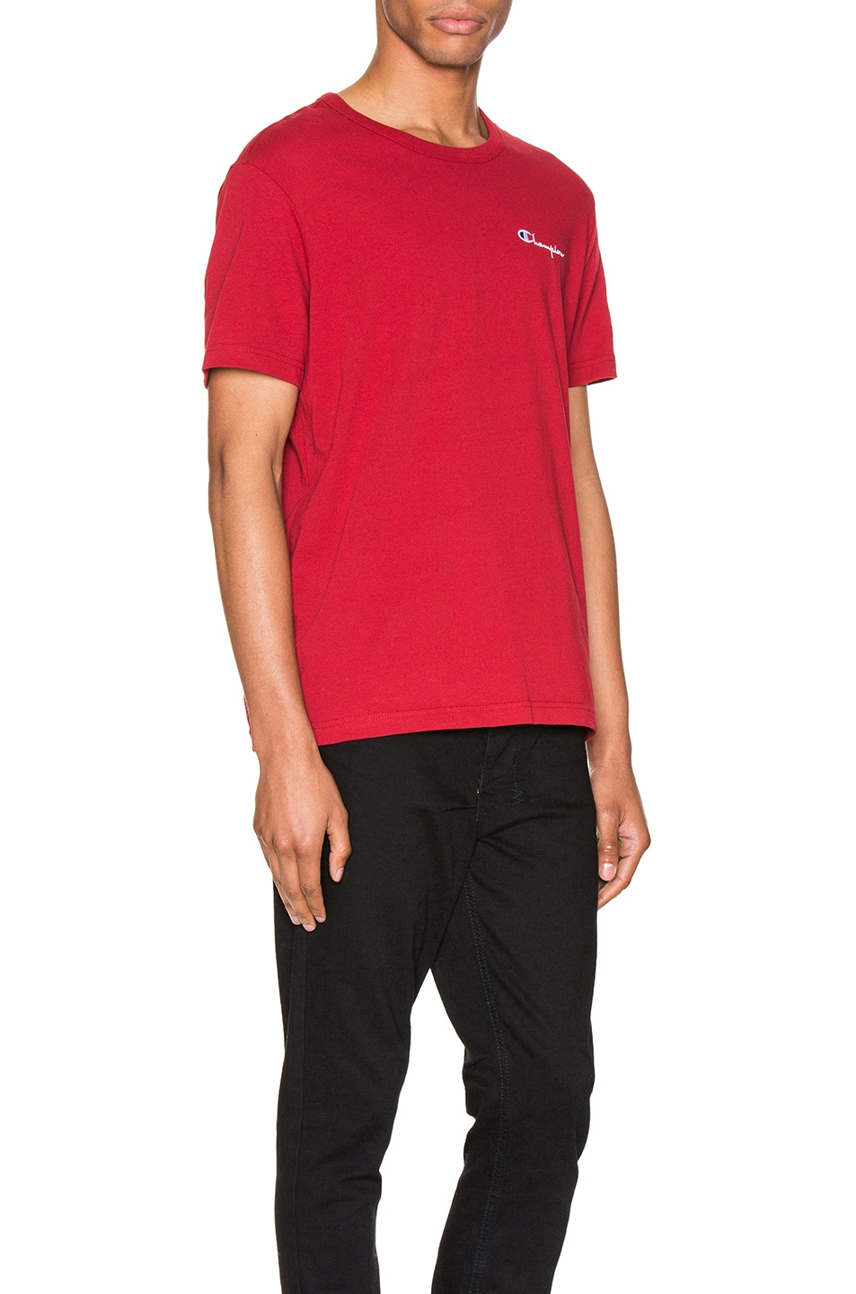 Image 2 of Champion Reverse Weave Small Script T-Shirt in Scarlet