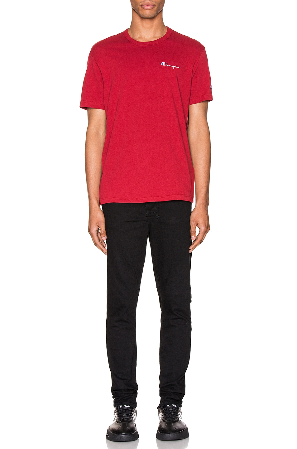 Image 5 of Champion Reverse Weave Small Script T-Shirt in Scarlet