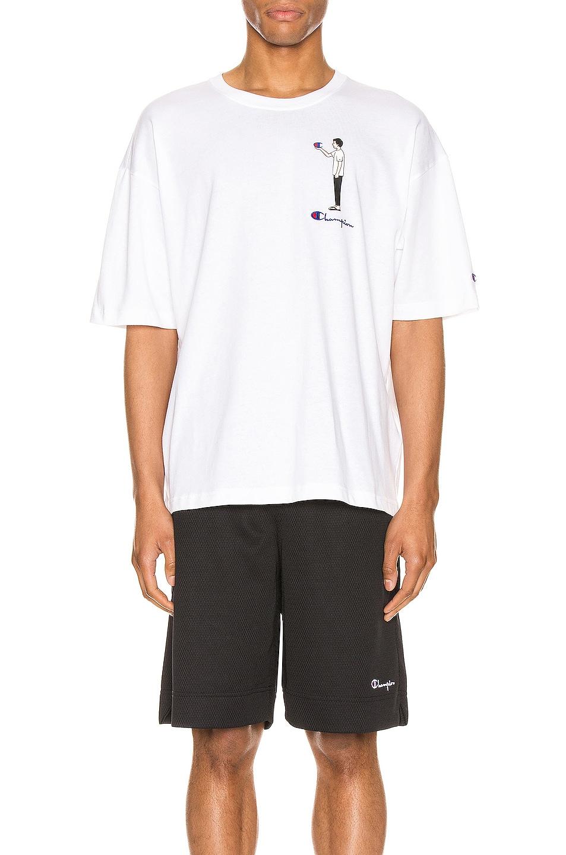 Image 1 of Champion Reverse Weave Omni Crew Short Sleeve Tee in White
