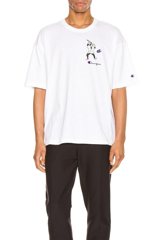 Image 1 of Champion Reverse Weave Omni Crew Short Sleeve Tee in Winter White