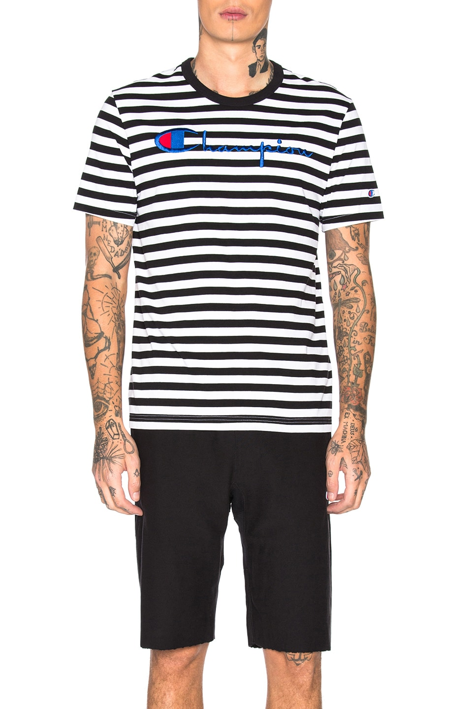 Image 1 of Champion Reverse Weave Champion Crewneck Striped Logo Tee in Black & White