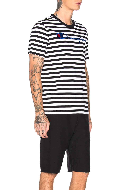 Image 2 of Champion Reverse Weave Champion Crewneck Striped Logo Tee in Black & White