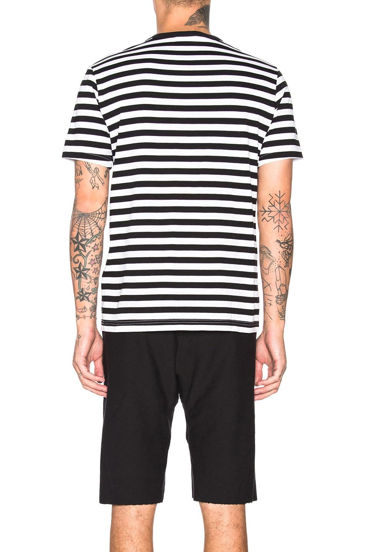 Image 3 of Champion Reverse Weave Champion Crewneck Striped Logo Tee in Black & White