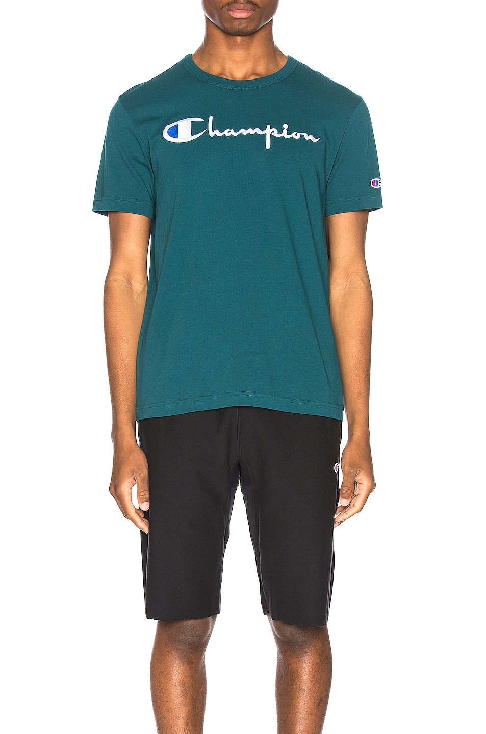 Image 1 of Champion Reverse Weave Big Script T-Shirt in Jeweled Jade