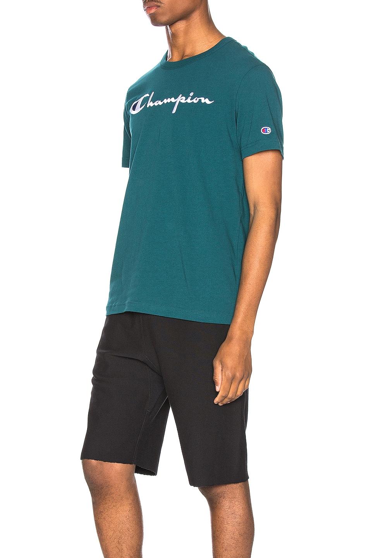 Image 3 of Champion Reverse Weave Big Script T-Shirt in Jeweled Jade