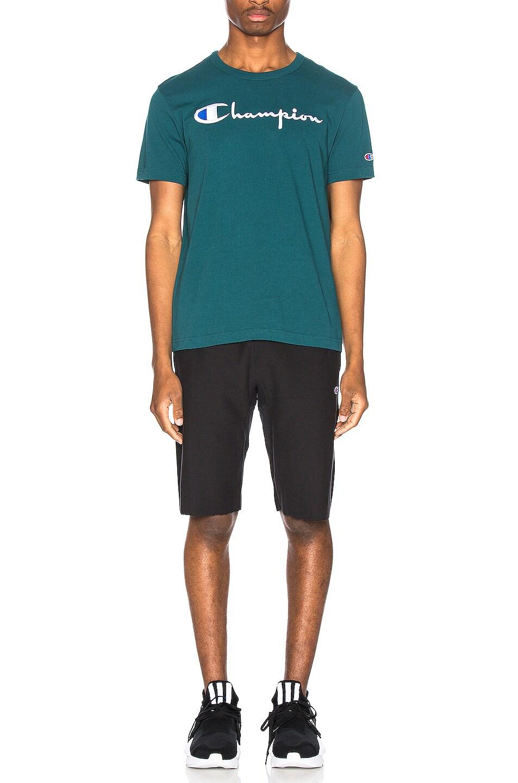 Image 5 of Champion Reverse Weave Big Script T-Shirt in Jeweled Jade