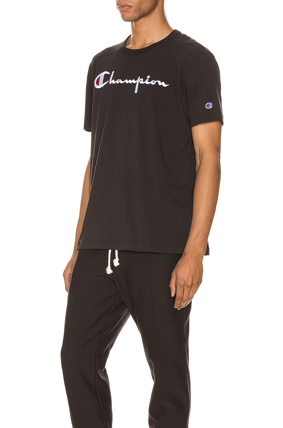 Image 3 of Champion Reverse Weave Big Script Tee in Black