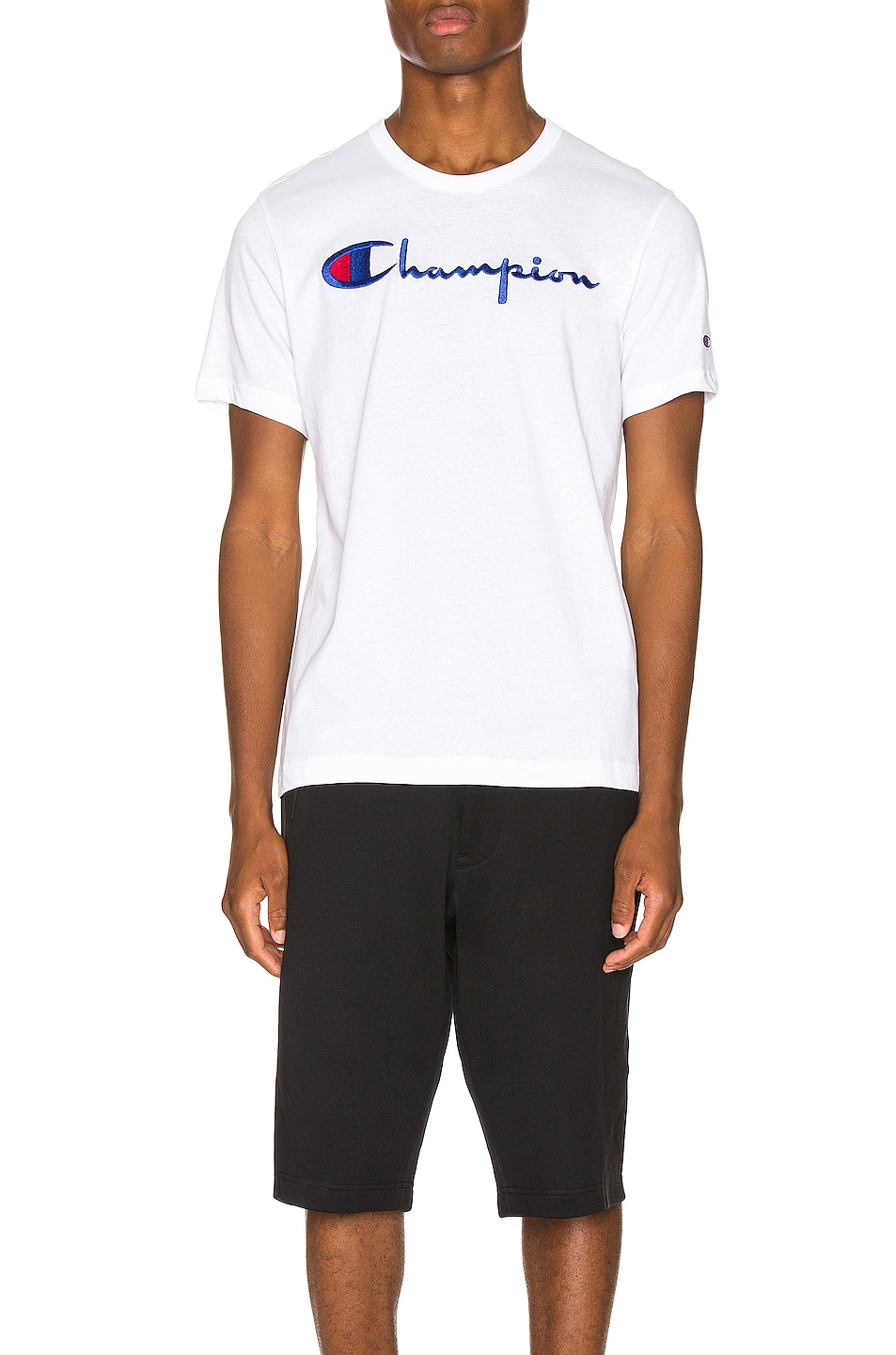 Image 1 of Champion Reverse Weave Big Script Tee in White
