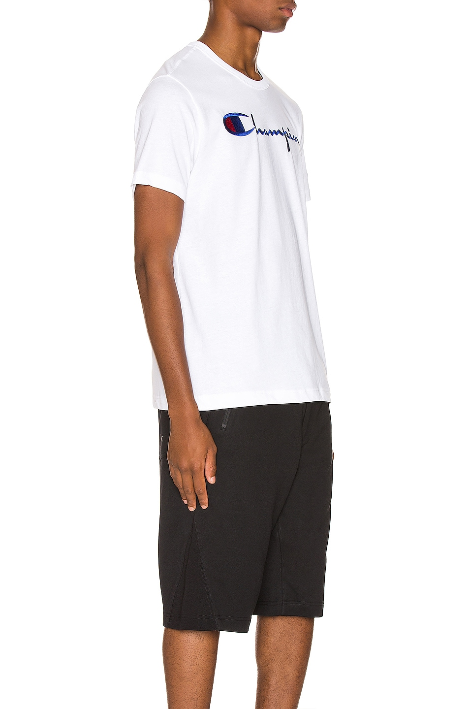 Image 2 of Champion Reverse Weave Big Script Tee in White