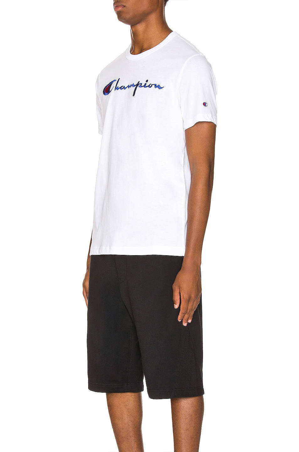 Image 3 of Champion Reverse Weave Big Script Tee in White