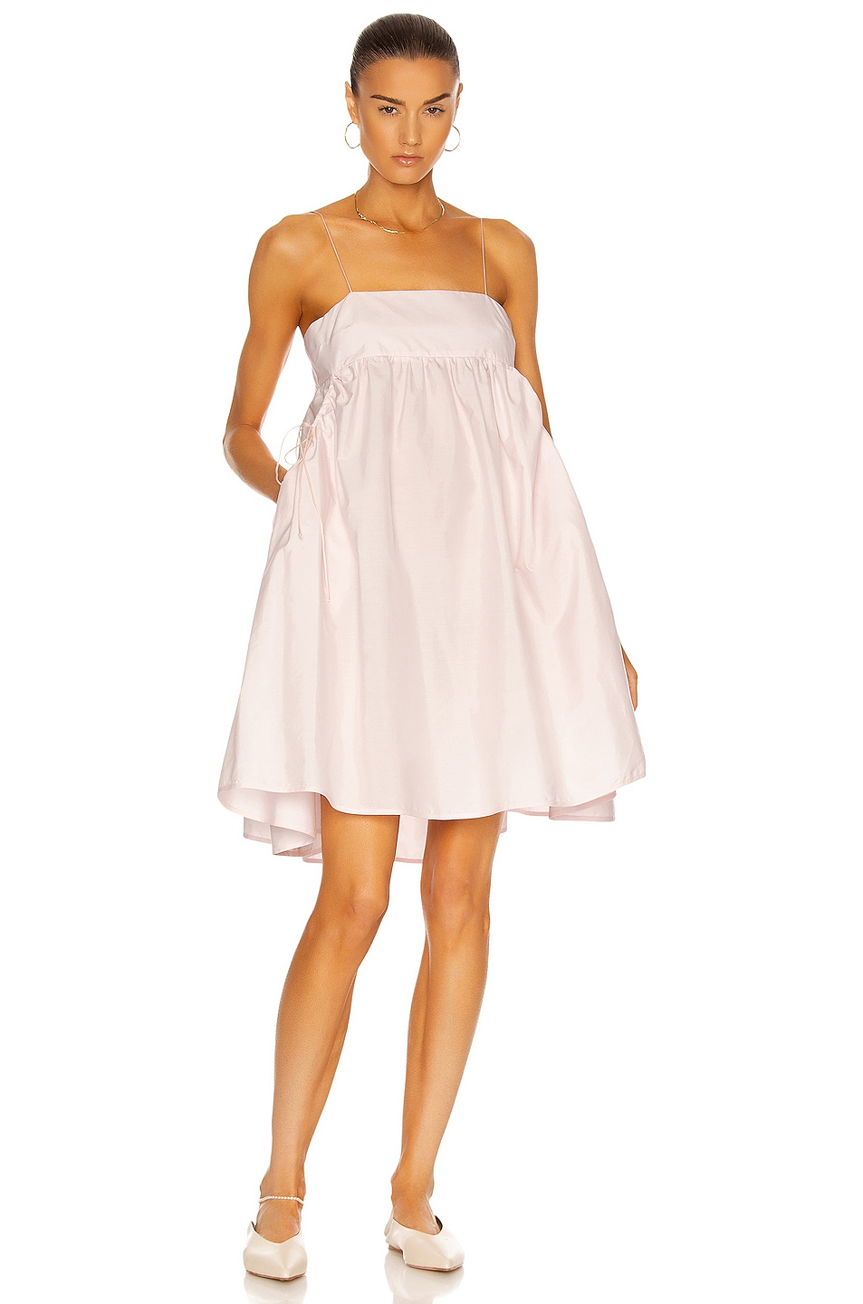 Image 1 of Cecilie Bahnsen Lisbeth Bandeau With Gathered Pockets Dress in Blossom Pink