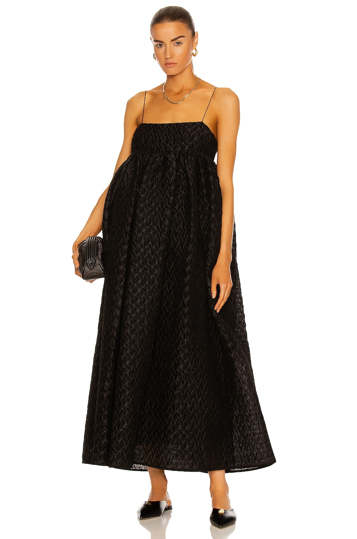 Image 1 of Cecilie Bahnsen Beth Voluminous Strap Dress in Black