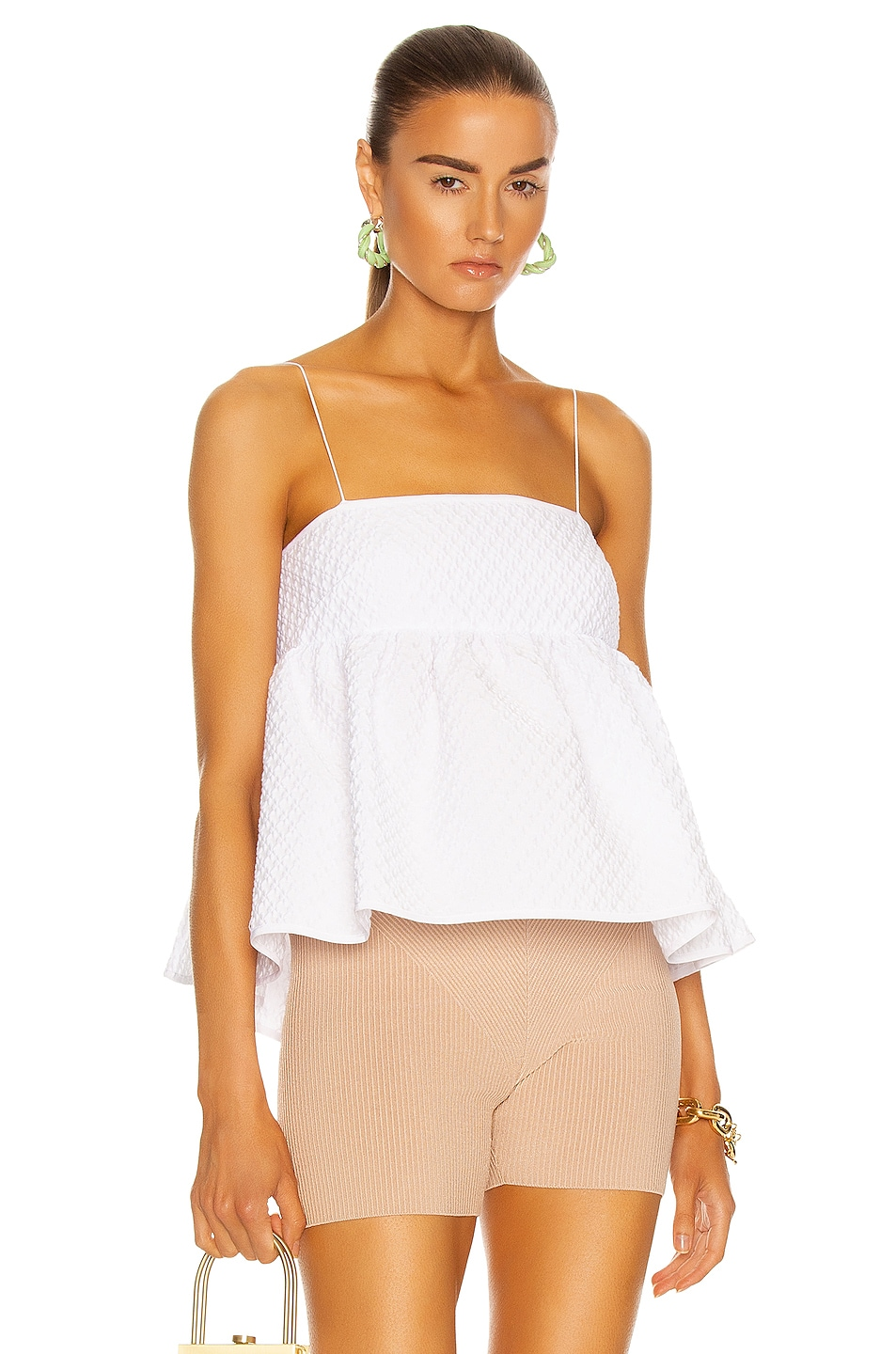Image 1 of Cecilie Bahnsen Selena Bandeau With Open Back Top in White