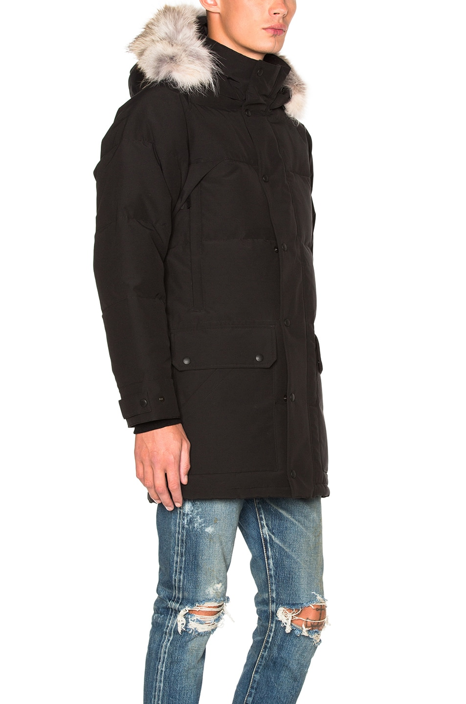 45e373f3a1e4d Image 4 of Canada Goose Emory Parka with Coyote Fur in Black