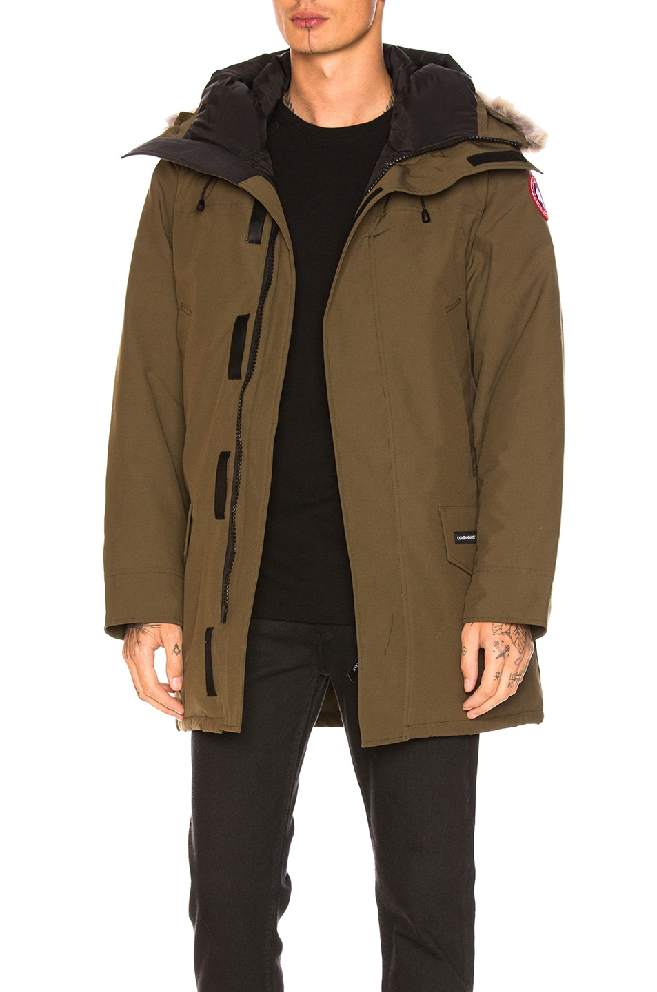 Image 1 of Canada Goose Langford Coyote Fur Trim Parka in Military Green