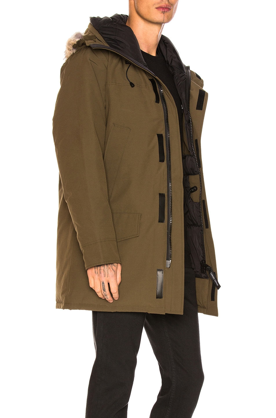 Image 3 of Canada Goose Langford Coyote Fur Trim Parka in Military Green