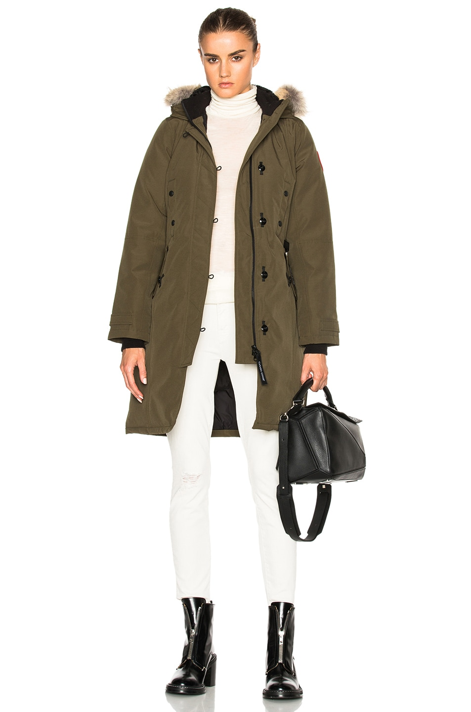 Image 1 of Canada Goose Kensington Parka With Coyote Fur in Military Green 1ad0e7331