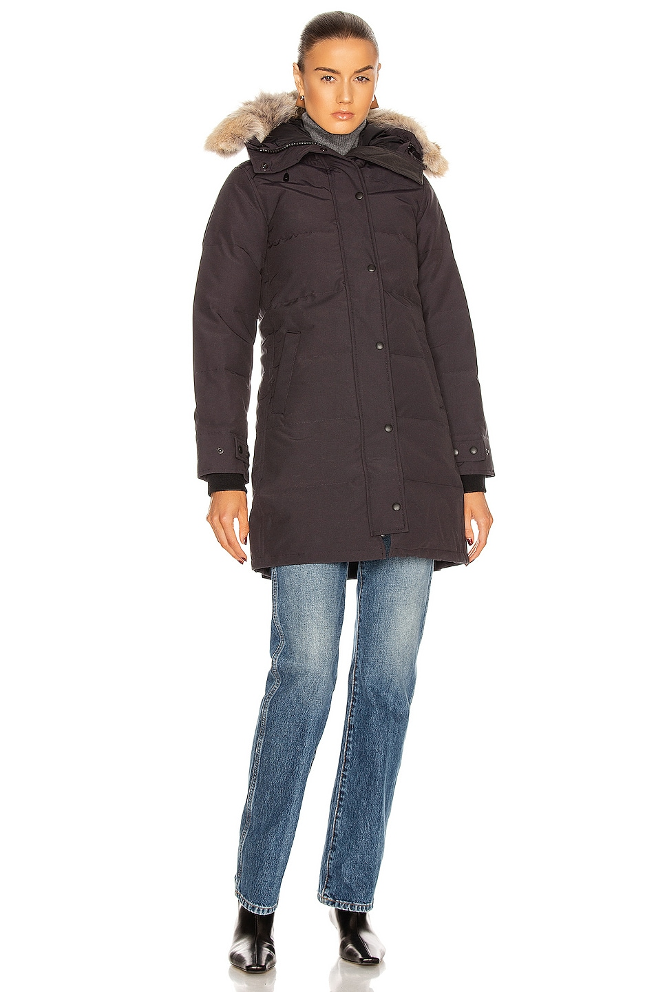 Image 2 of Canada Goose Shelburne Parka with Coyote Fur in Navy